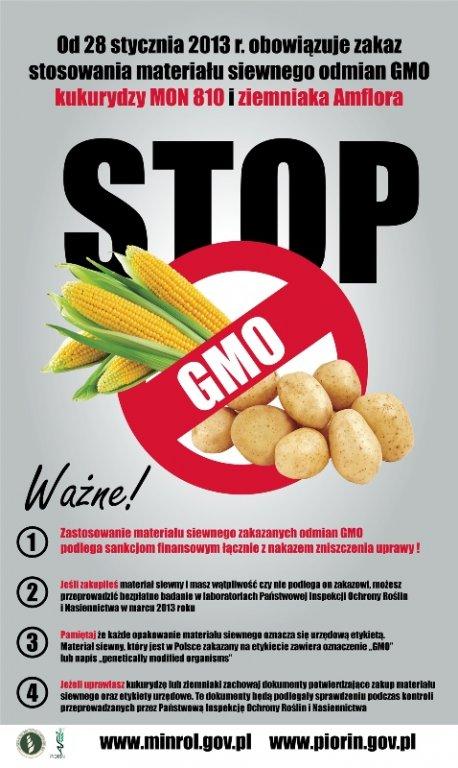 Zakaz stosowania  materiału siewnego odmian GMO