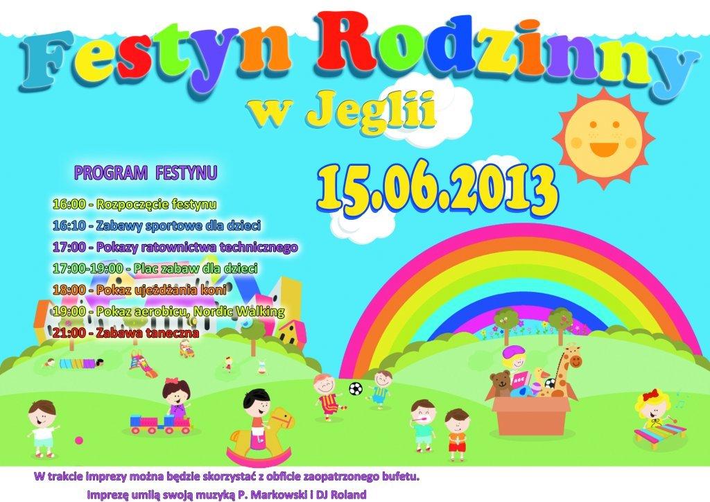 Zaproszenie na Festyn Rodzinny do Jeglii