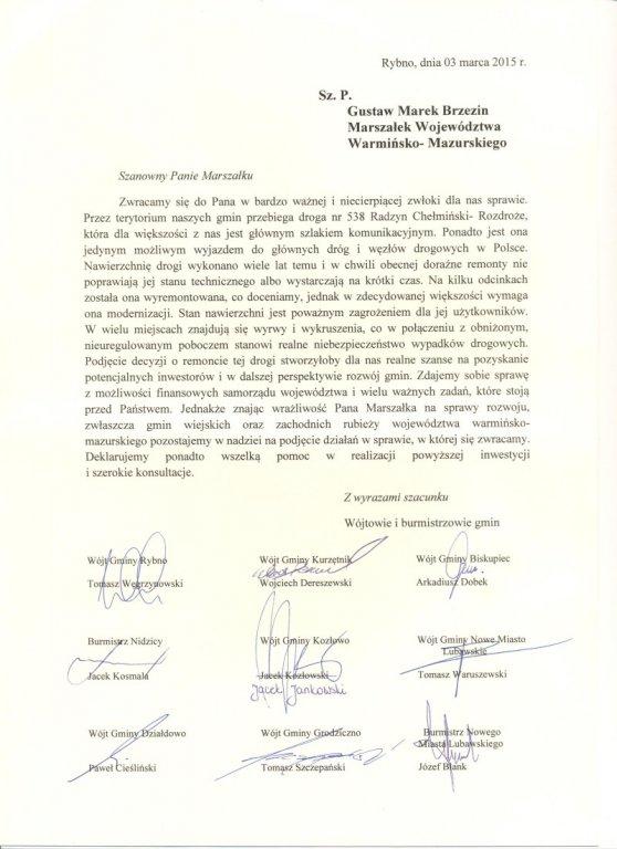 List intencyjny w sprawie modernizacji dorgi wojewódzkiej nr 538