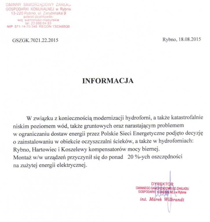 Informacja Dyrektora GSZGK