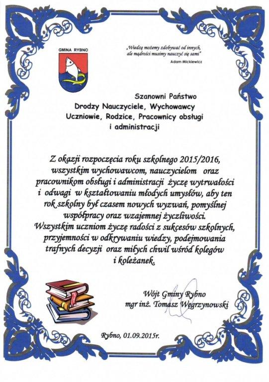 Życzenia z okazji rozpoczęcia roku szkolnego 2015/2016