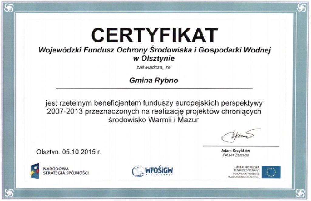 Gmina Rybno z certyfikatem WFOŚiGW