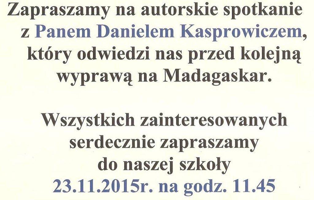 Koszelewy: Zapraszamy na spotkanie z Danielem Kasprowiczem