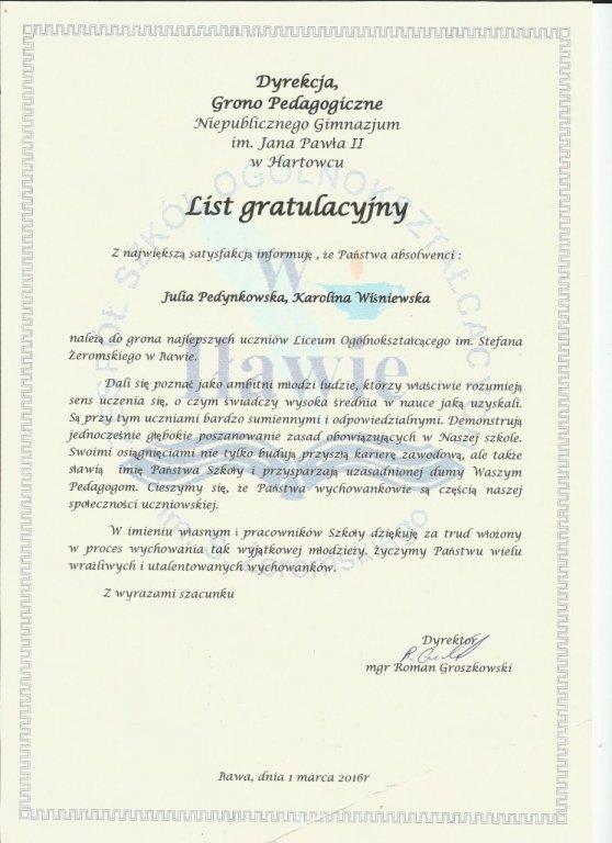 List gratulacyjny dla Gimnazjum w Hartowcu