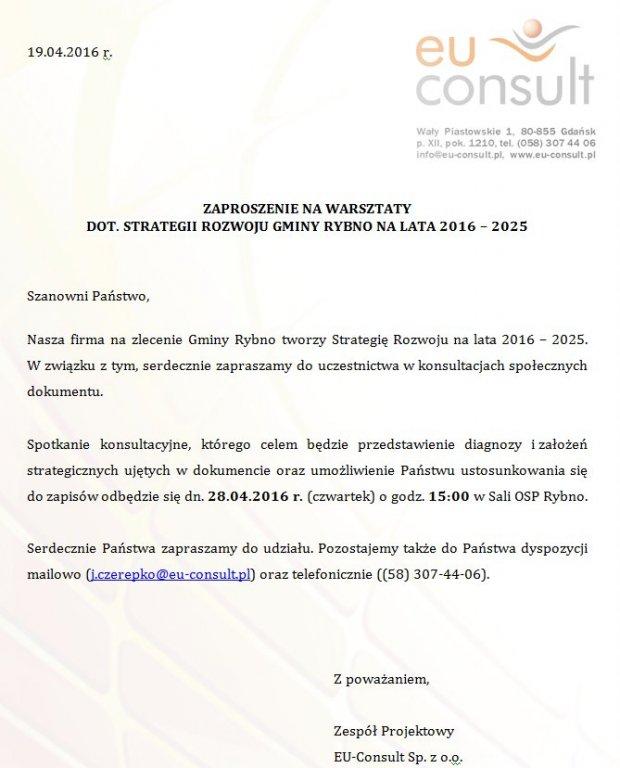 Zaproszenie na warsztaty dot. strategii rozwoju