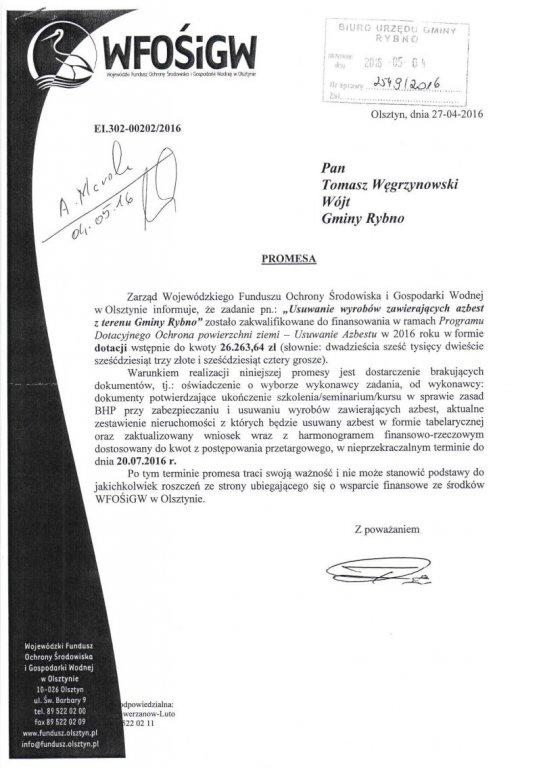 Gmina Rybno otrzyma dotację na usuwanie azbestu