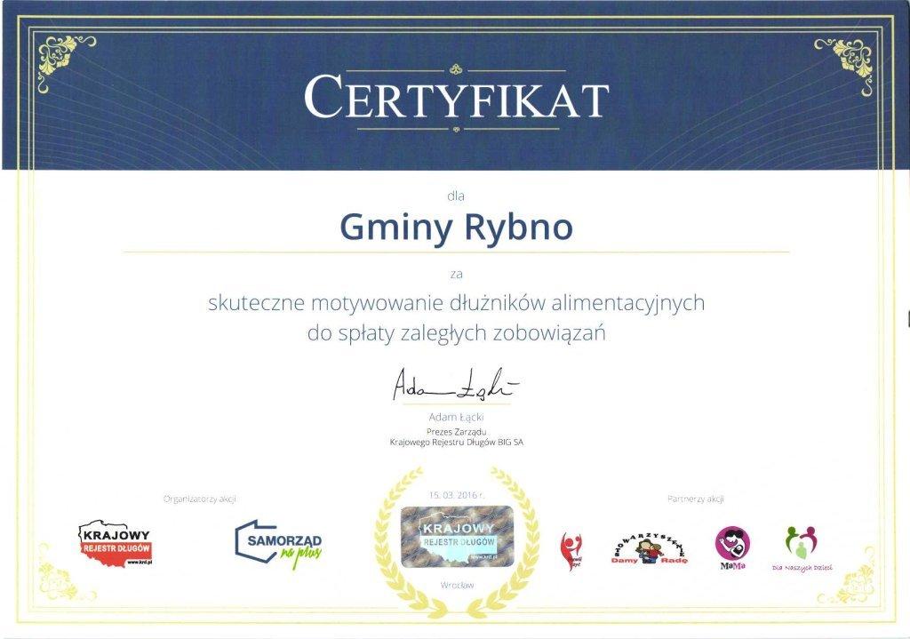 Certyfikat dla Gminy Rybno