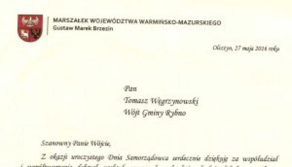 List Marszałka Województwa Warmińsko-Mazurskiego