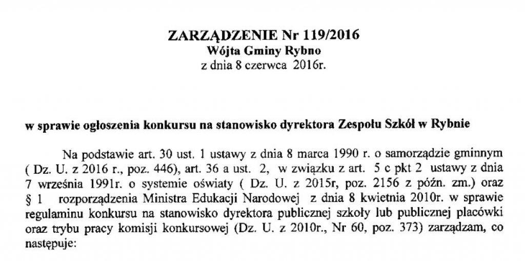 Konkurs na stanowisko Dyrektora Zespołu Szkół w Rybnie