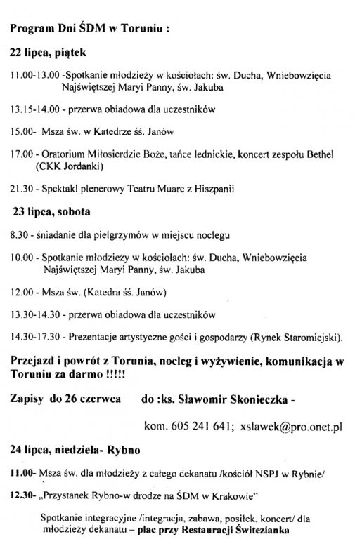 Program ŚDM w Toruniu