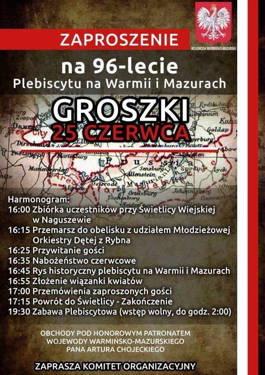 Zapraszamy na 96-lecie Plebiscytu na Warmii i Mazurach
