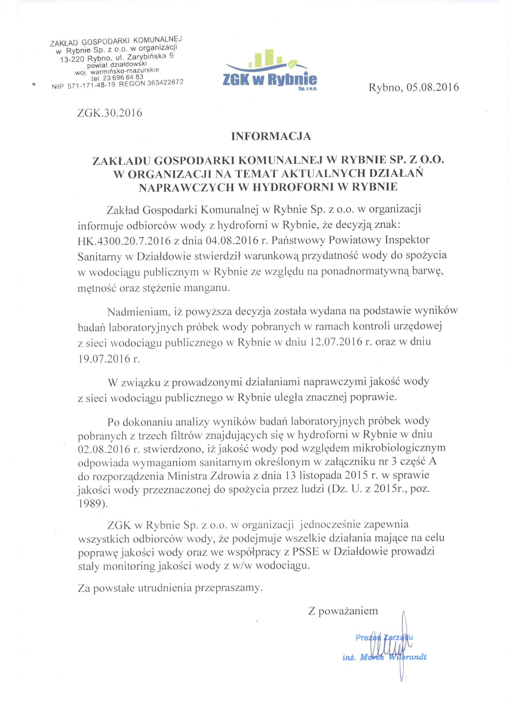 Informacja ZGK w Rybnie