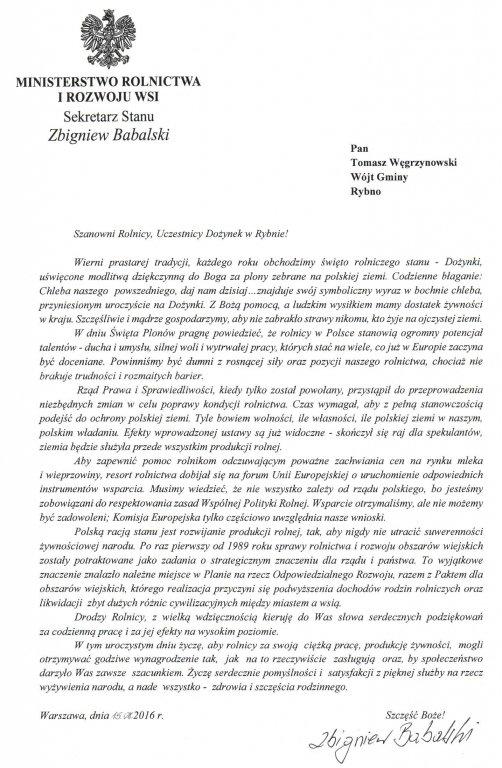 List Sekretarza Stanu Ministerstwa Rolnictwa i Rozwoju Wsi