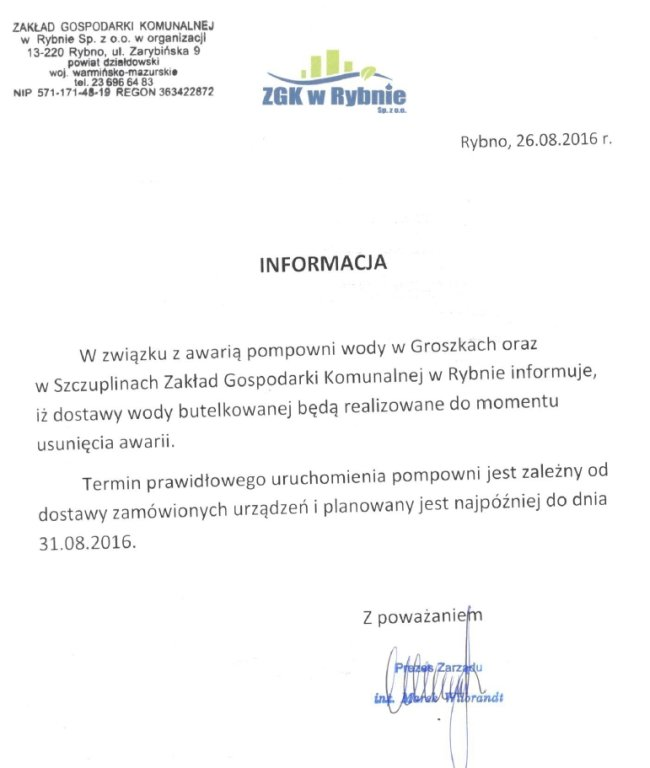 Informacja Zakładu Gospodarki Komunalnej