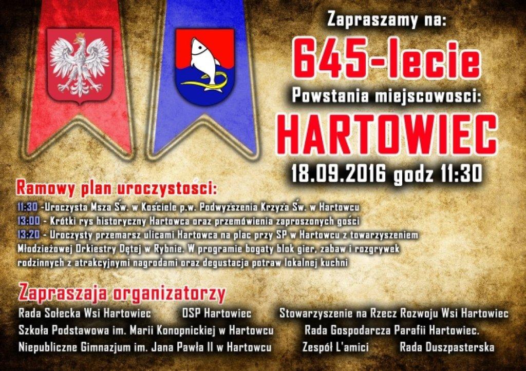 Zapraszamy na 645-lecie powstania miejscowości Hartowiec