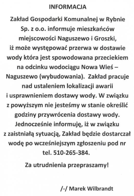 Komunikat Zakładu Gospodarki Komunalnej