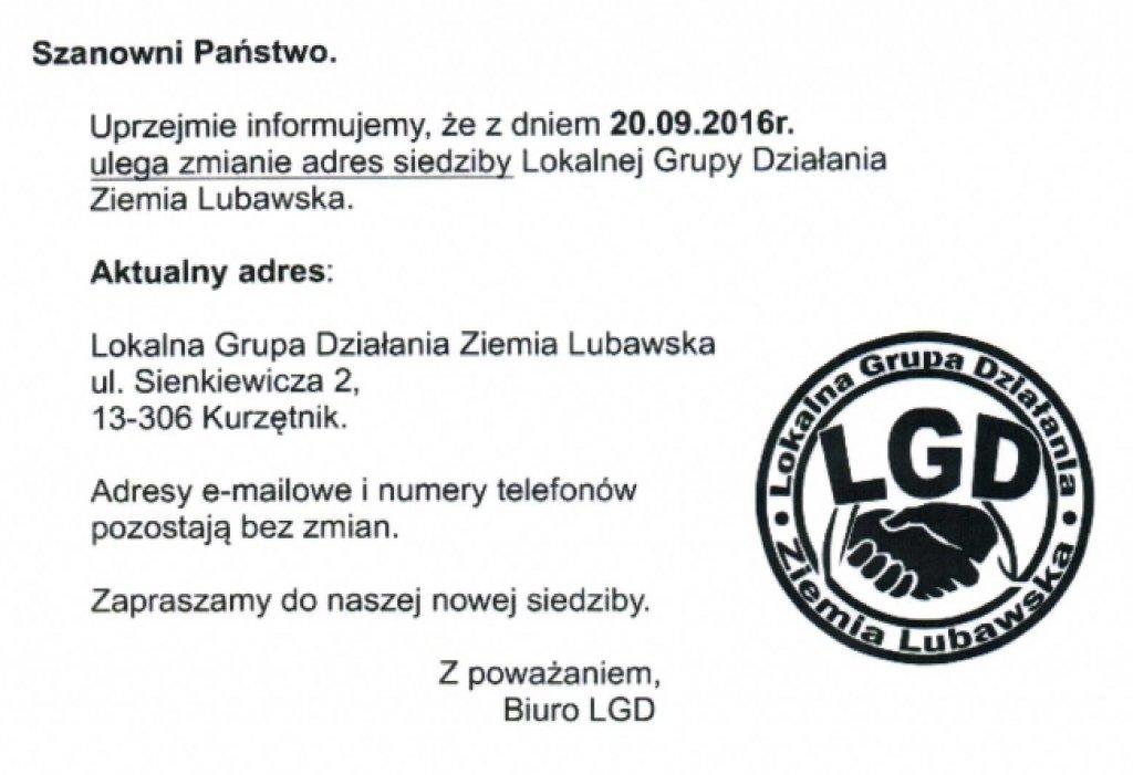 Zmiana siedziby biura LGD