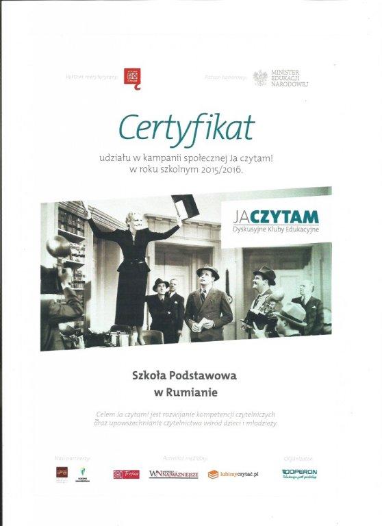 Certyfikat dla Szkoły Podstawowej w Rumianie