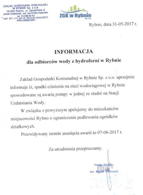 Informacja dla odbiorców wody w Rybnie