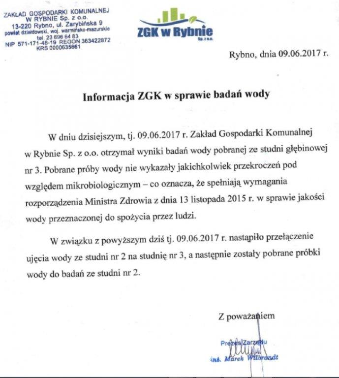 Informacja ZGK w sprawie badań wody