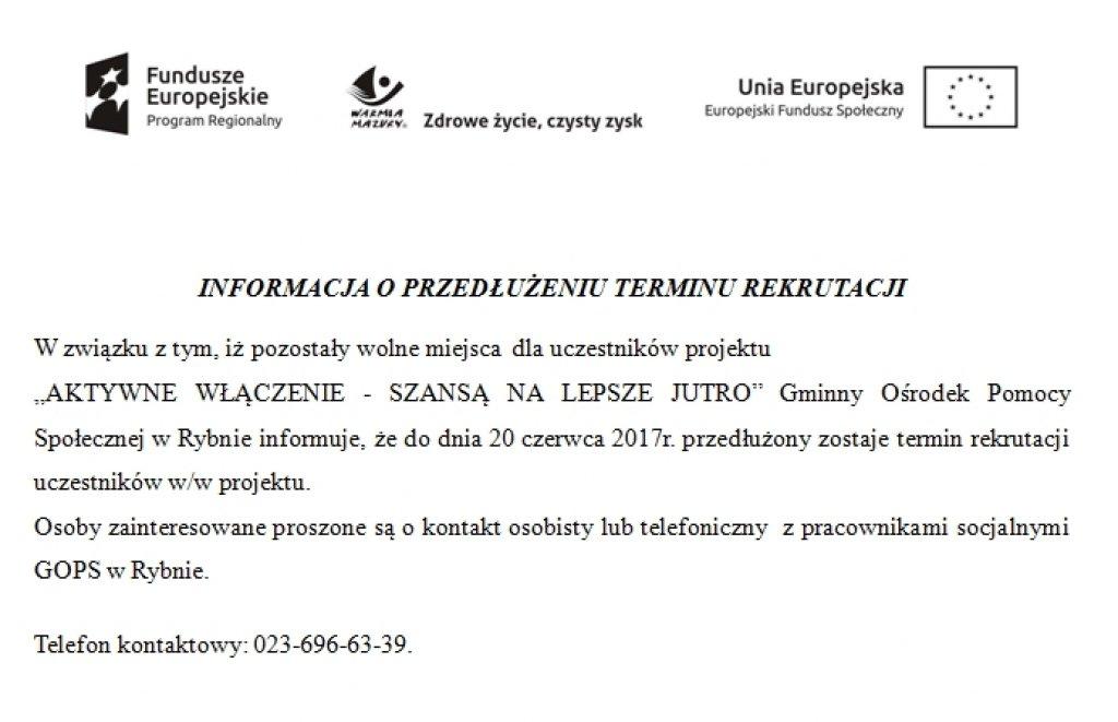Informacja o przedłużeniu terminu rekrutacji