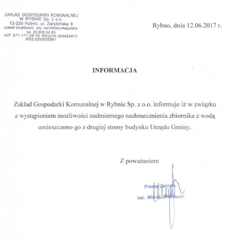 Informacja ZGK