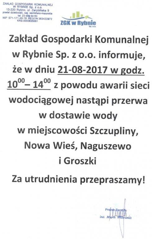 Ogłoszenie ZGK w Rybnie
