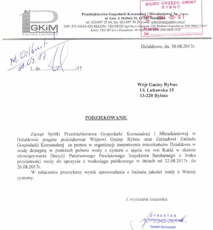 Podziękowanie od PGKiM Działdowo