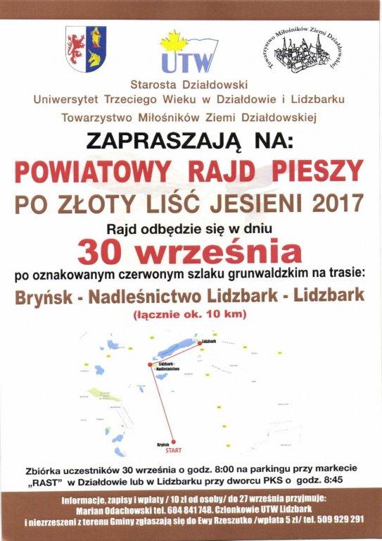 Zaproszenie na Powiatowy Rajd Pieszy