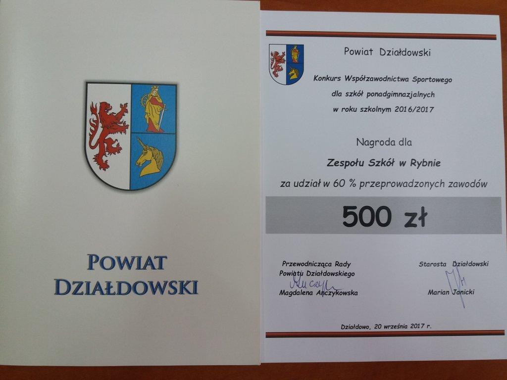Nagroda dla Zespołu Szkół w Rybnie