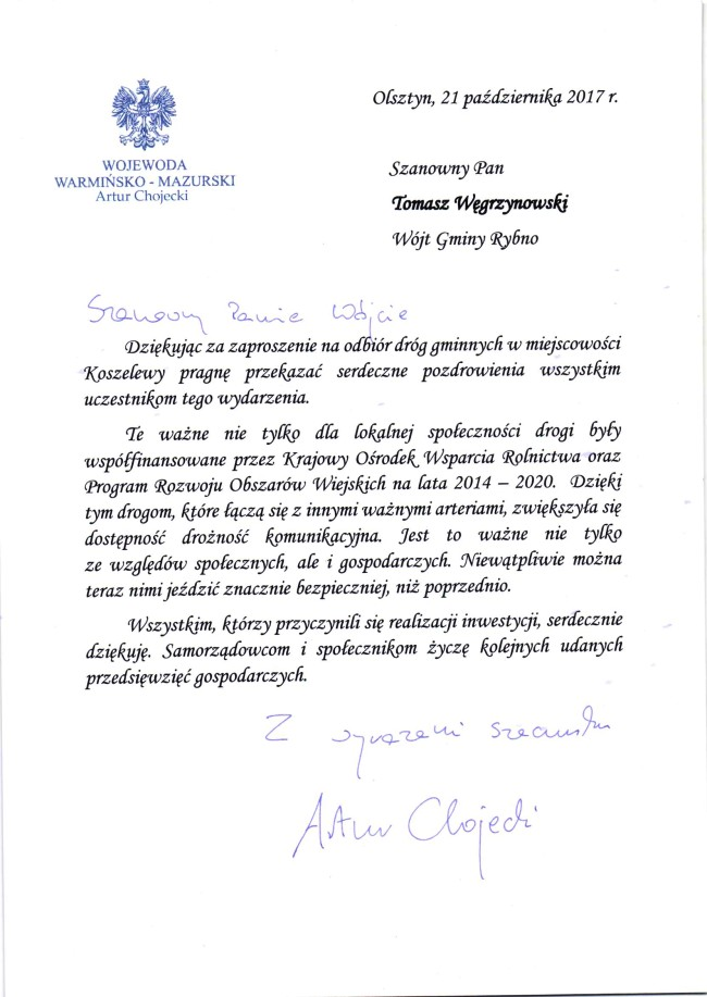 Podziękowanie od Wojewody i Poseł Elżbiety Gelert