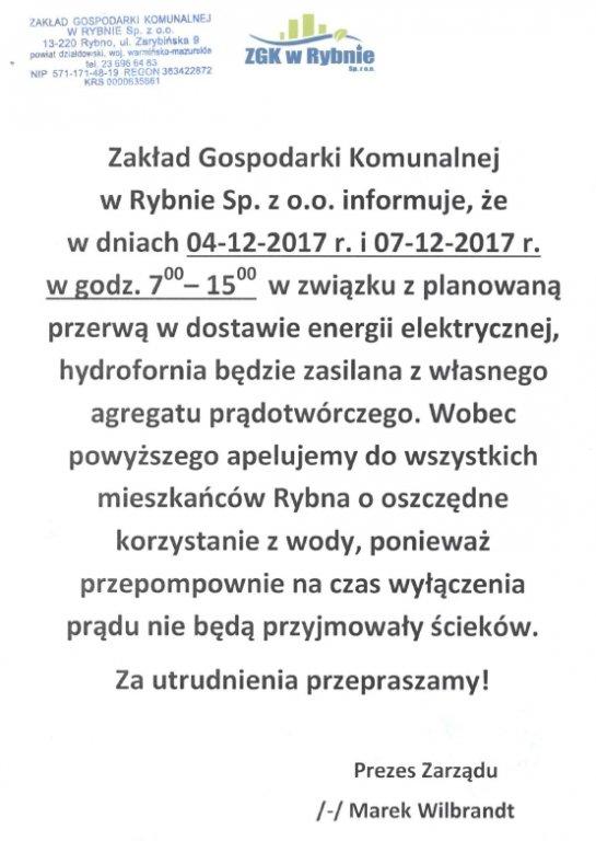 Ogłoszenie ZGK