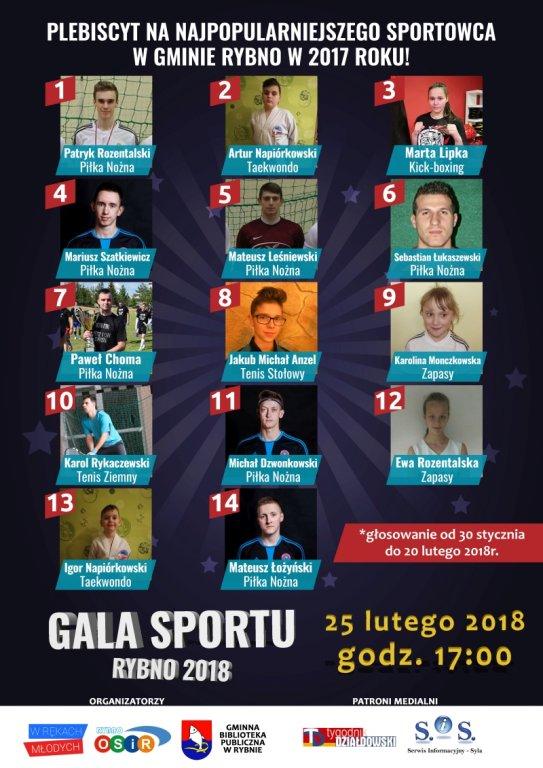 Rusza Plebiscyt na 'Najpopularniejszego Sportowca Gminy Rybno w 2017 roku!'