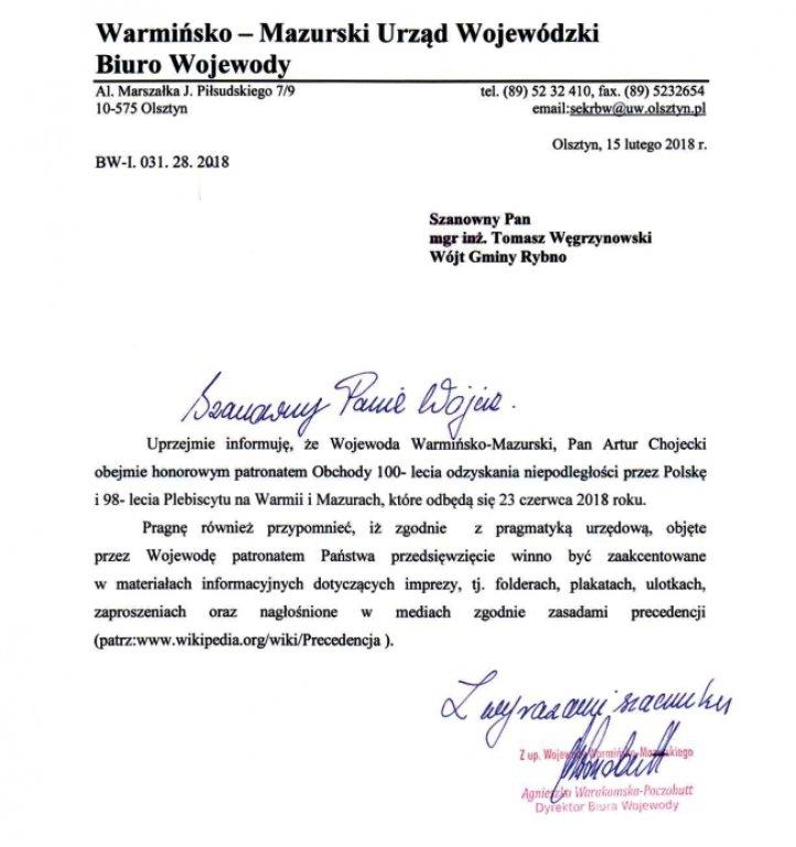 Rocznica odzyskania niepodległości pod patronatem Wojewody