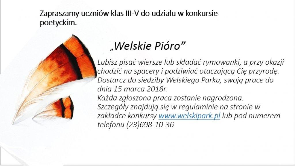 'Welskie Pióro' - konkurs poetycki