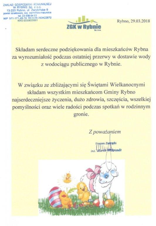 Życzenia Świąteczne Preresa ZGK w Rybnie