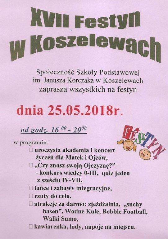 Zapraszamy na festyn rodzinny w Koszelewach