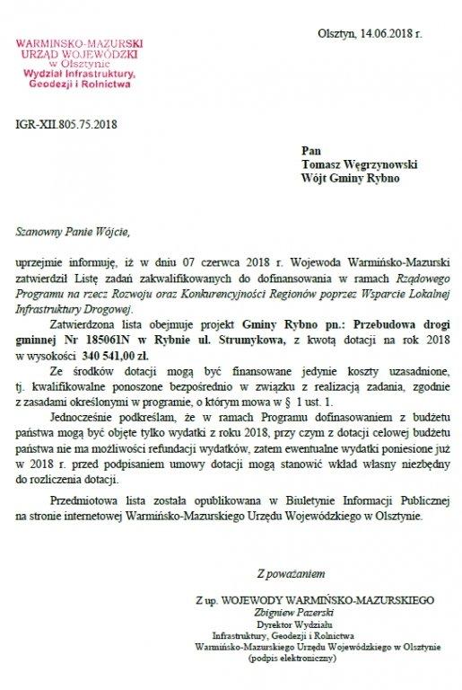 Dofinansowanie przebudowy ulicy Strumykowej