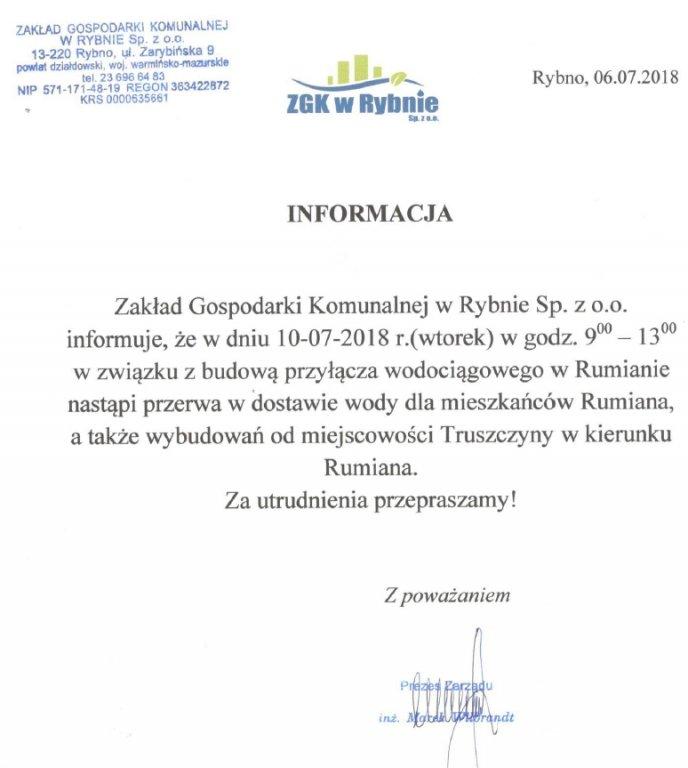 Rumian: będzie przerwa w dostawie wody