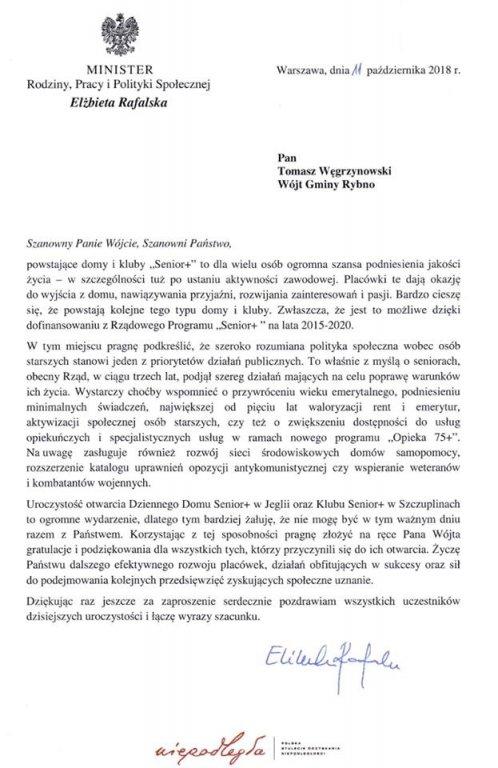 List Ministra Rodziny, Pracy i Polityki Społecznej
