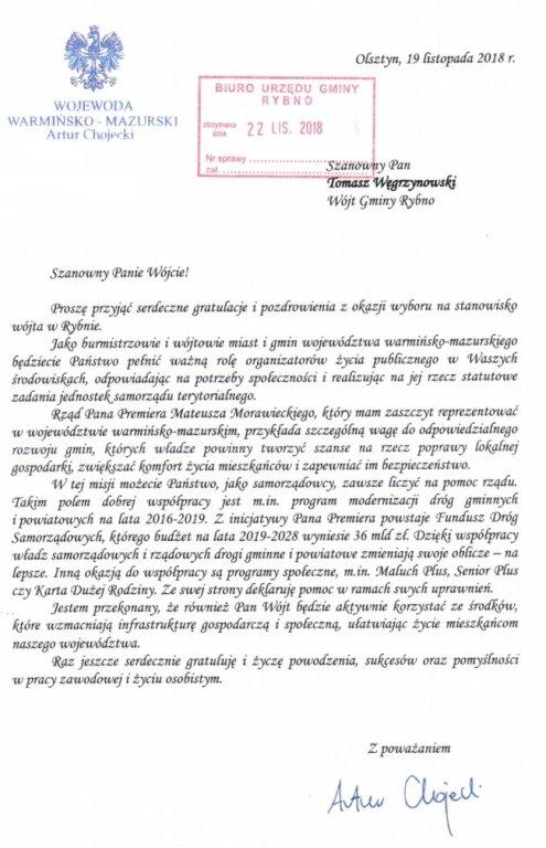 Gratulacje od Wojewody Warmińsko-Mazurskiego