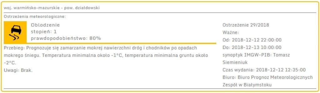 Ostrzeżenie meteorologiczne - oblodzenie